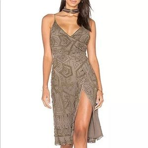 Majorelle beaded taupe dress